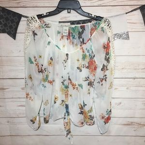 American Rag Cie Floral Chiffon Blouse Tie Front